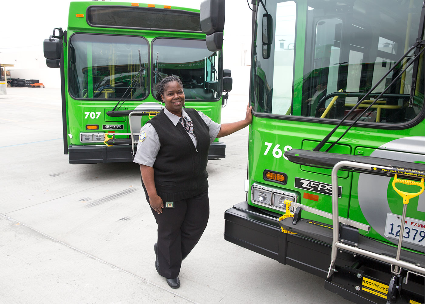 Electric bus and bus driver
