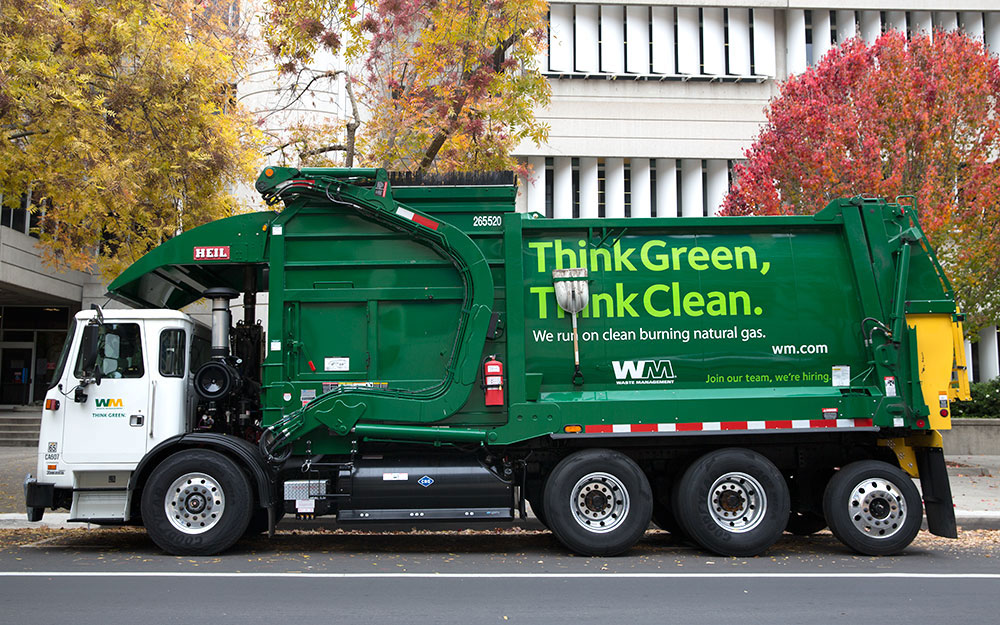 Waste Management clean burning natural gas garbage truck