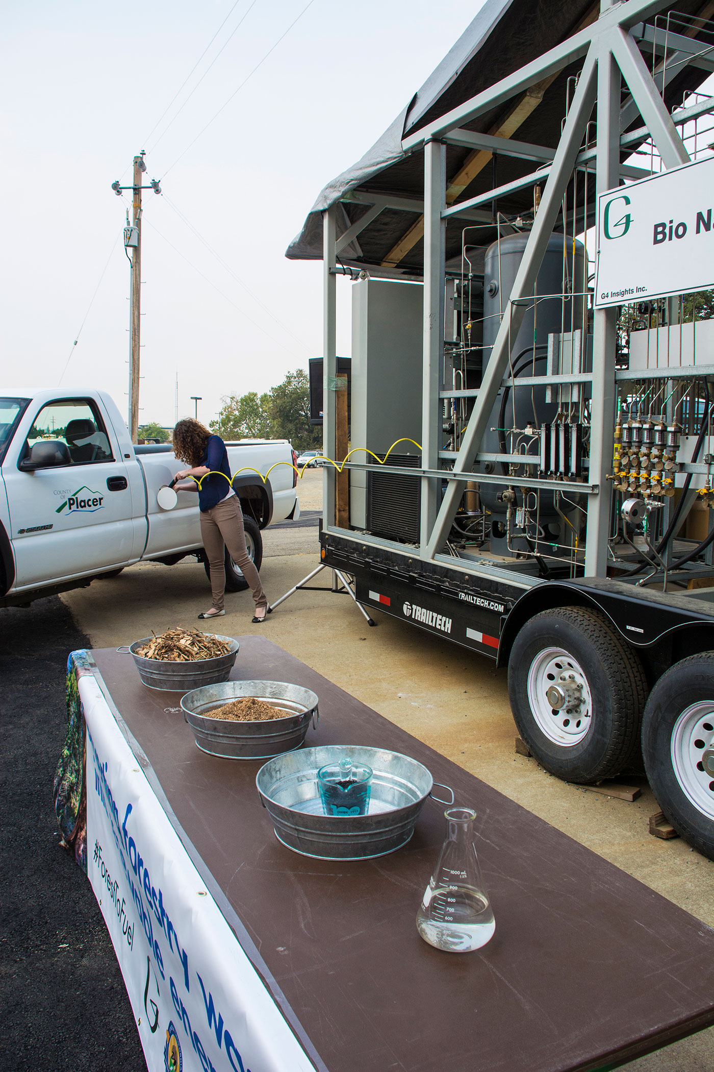 Person filling up truck with bio natural gas