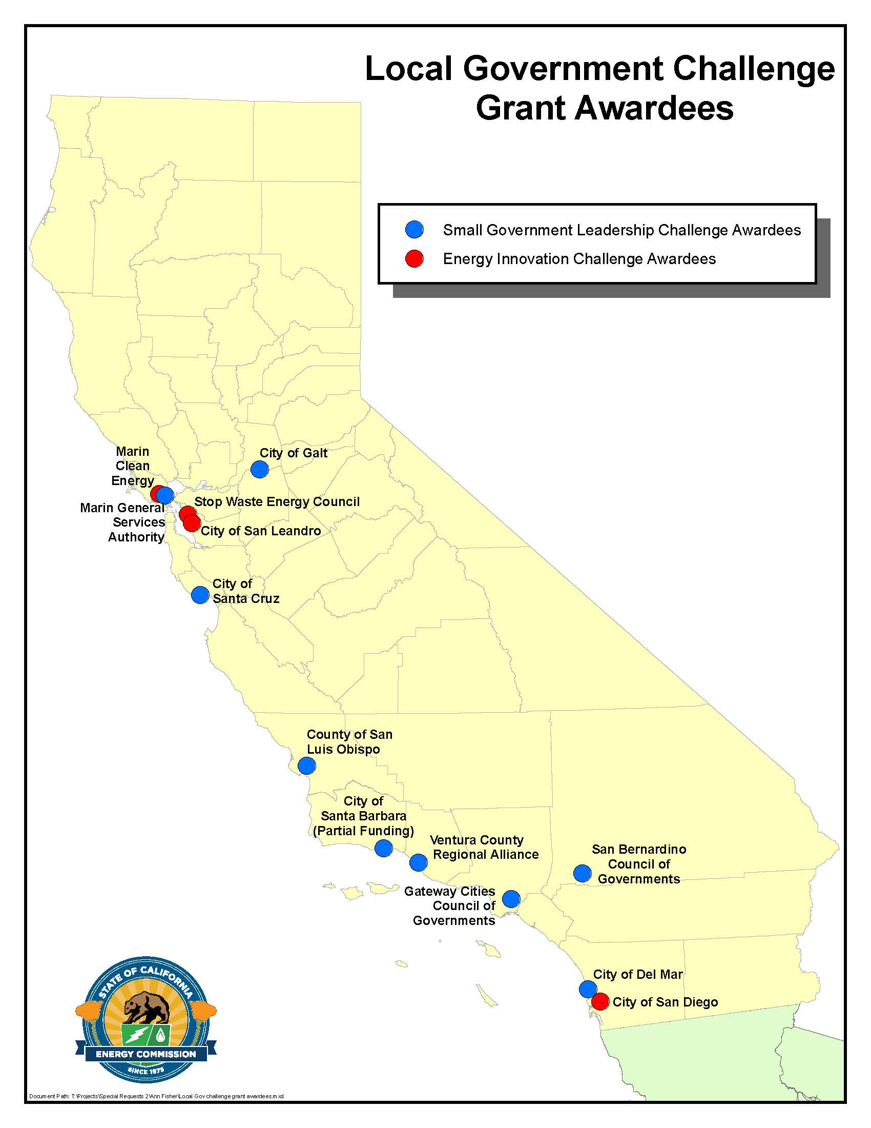 Image of California showing Local Government Challenge Grant Awardees locations