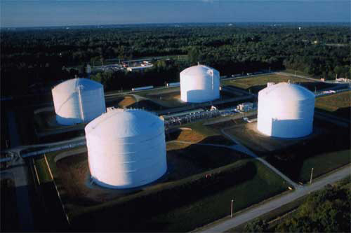 LNG Storage tanks at Cove Point Terminal, Maryland