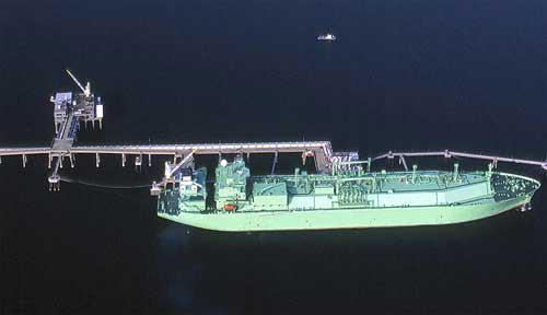 LNG Ship docked at Cove Point Terminal, Maryland, Photo Courtesy of Cameron Davidson © 2002
