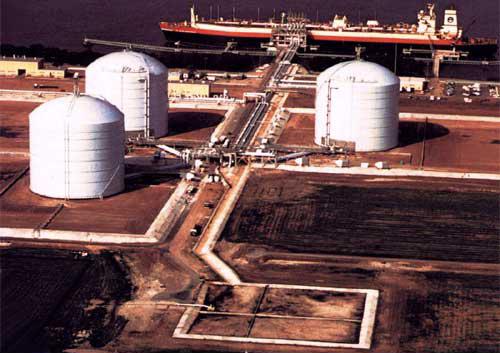 Three Large storage tanks at Elba Island Import Terminal, Georgia