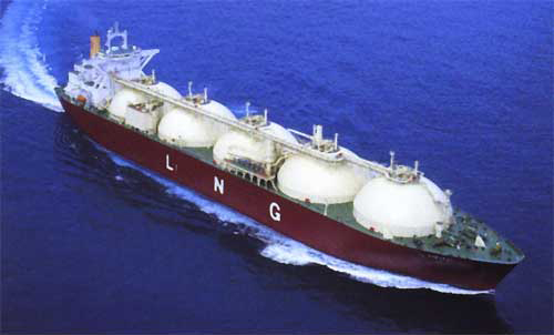 LNG Vessel, Five round LNG tanks spheres from bow to Bridge at aft of ship