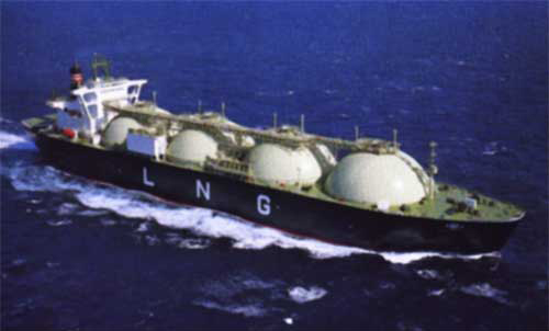 LNG Vessel with four LNG Spheres, bow to just before command deck at aft of ship