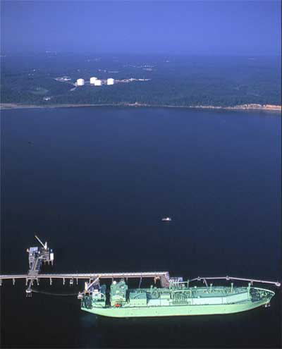 LNG Vessel docked at Cove Point Terminal, Maryland, Photo Courtesy of Cameron Davidson © 2003