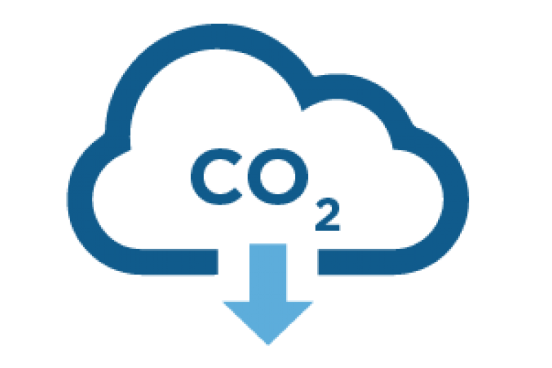 Pictograph of cloud expelling co2 in a downward fashion