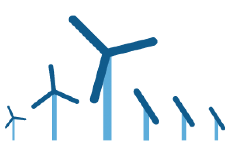 Pictograph of windmills and solar panels
