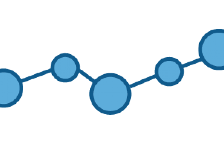 Pictograph of five circles filled with blue and connected by a line increasing upward slowly